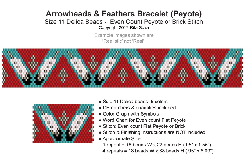 Arrowhead and Feathers Bracelet (Peyote)