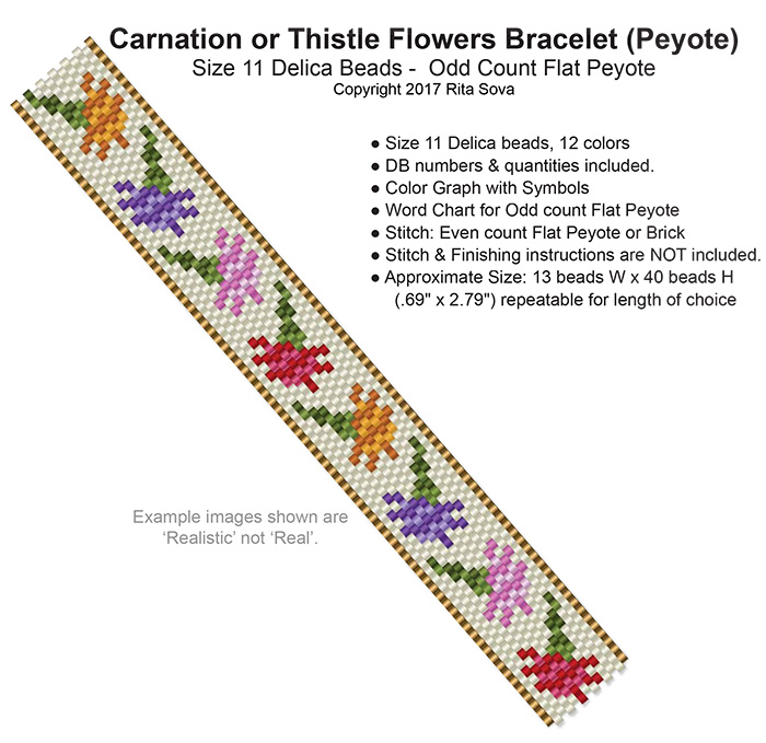 Carnation or Thistle Flowers Bracelet (Peyote)