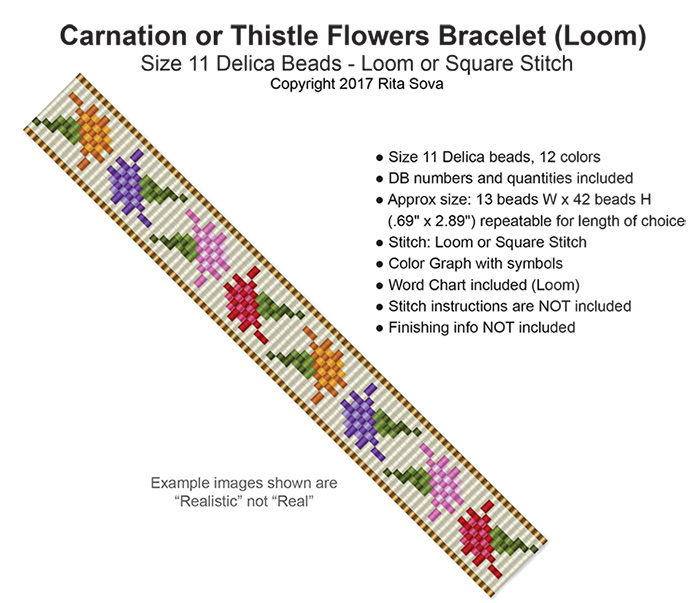 Carnation or Thistle Flowers Bracelet (Loom)