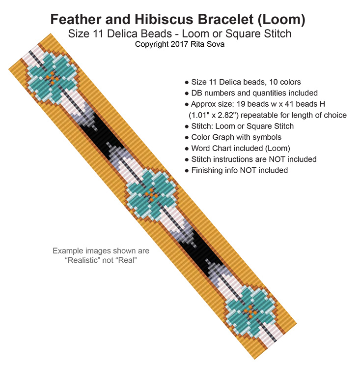 Feather and Hibiscus Bracelet (Loom)