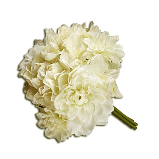Cream Mixed Dahlia Hydrangea Bouquet 10""