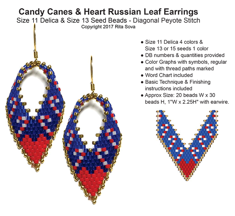 Candy Canes & Heart Russian Leaf Earrings
