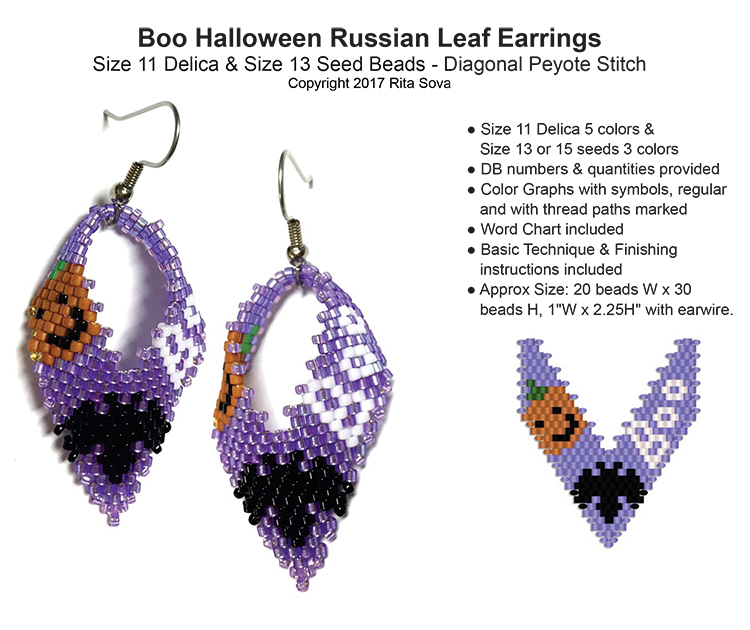 Boo Halloween Russian Leaf Earrings