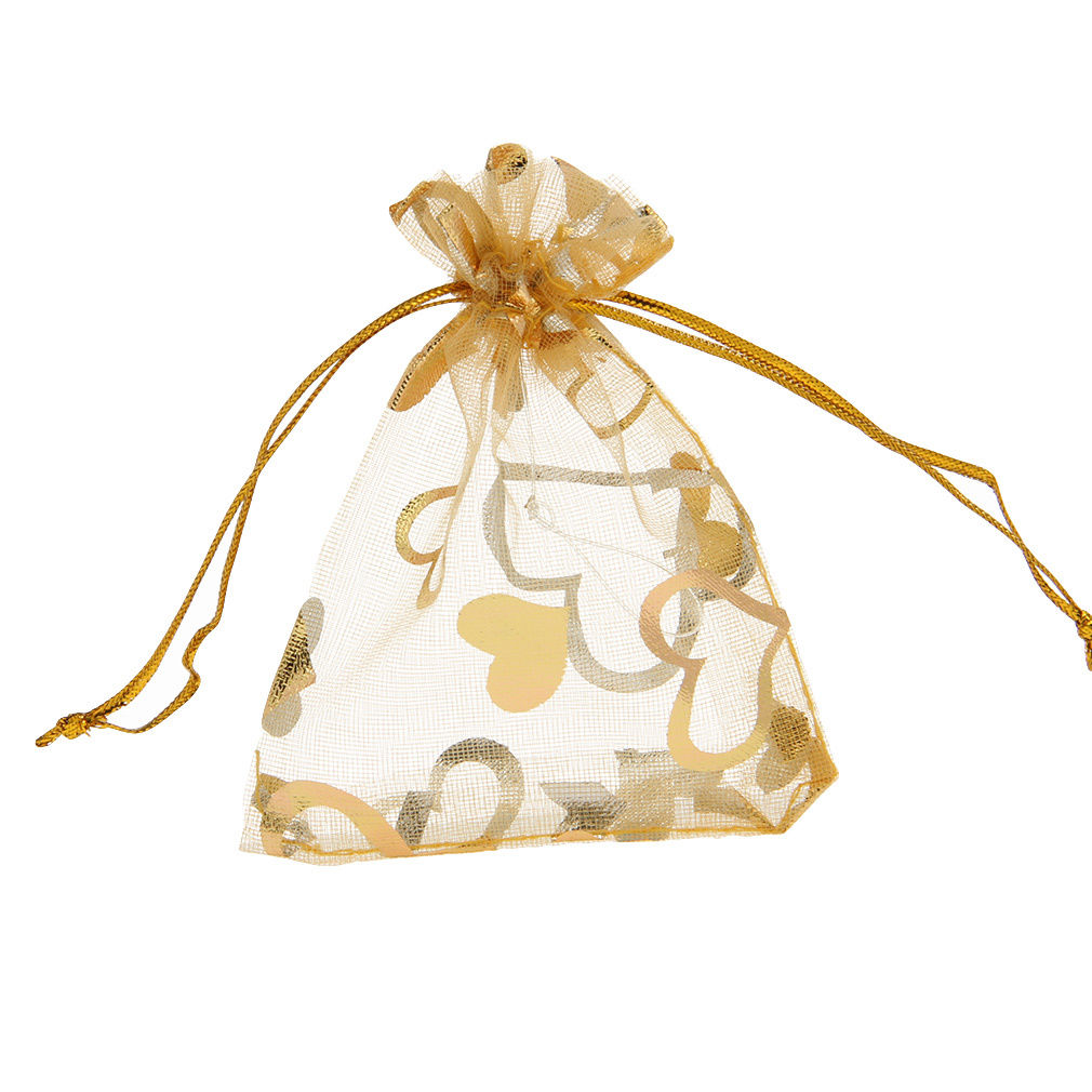 Hearts Gold Organza Party Favor Bags 9 x 12cm (25)