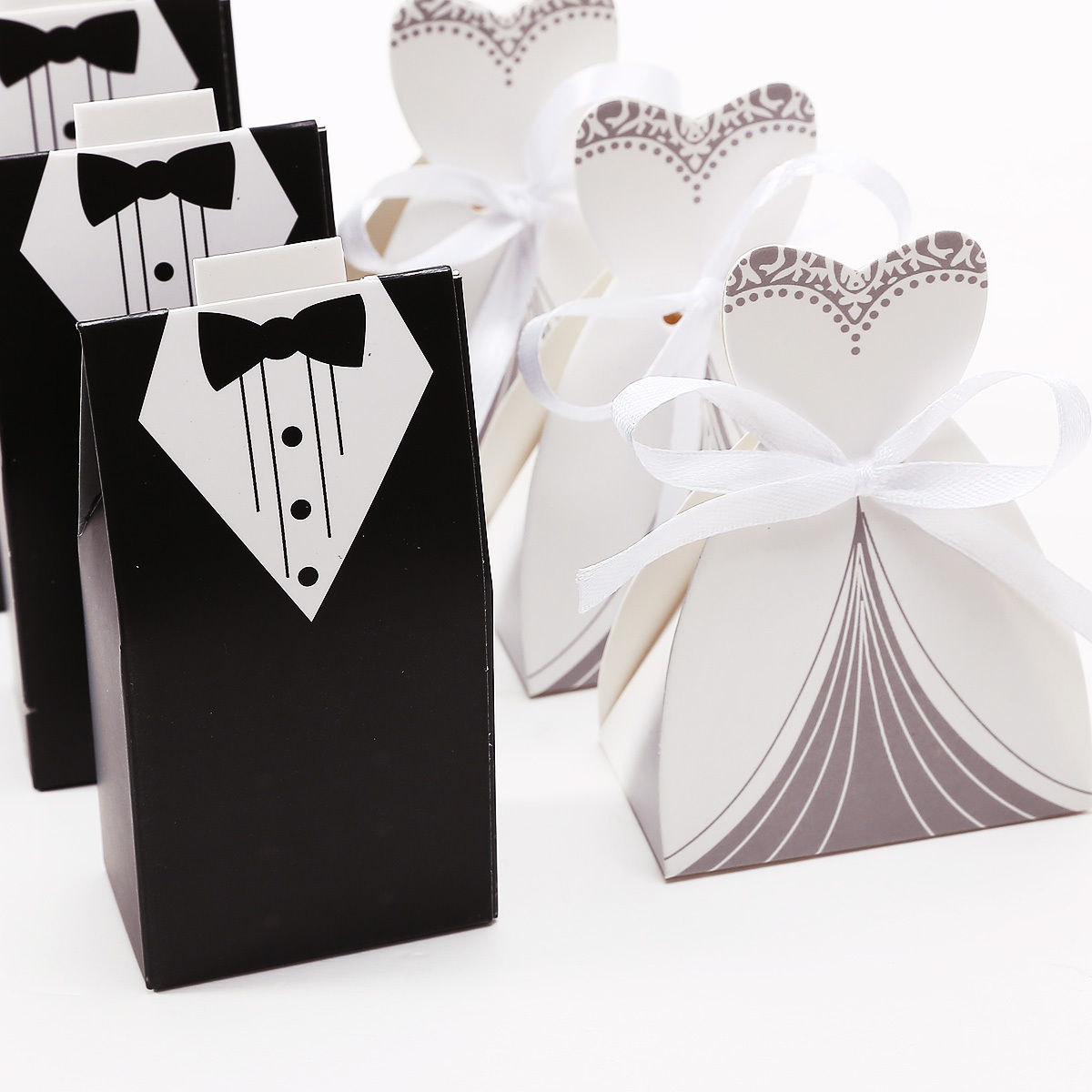 50 Wedding Favor Candy Box, Bride Dress & Groom Tuxedo (25 sets)
