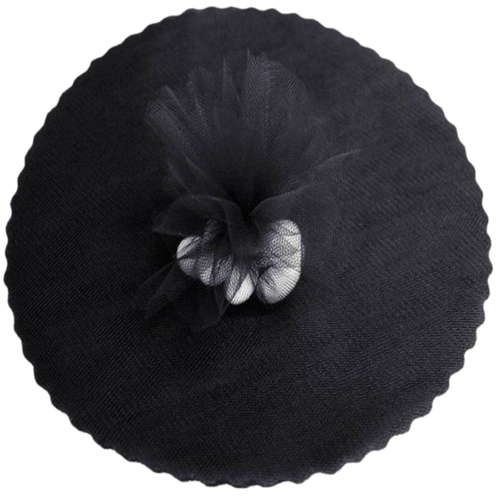 "9"" Tulle Round Circle Scallop Edge (50) Black"