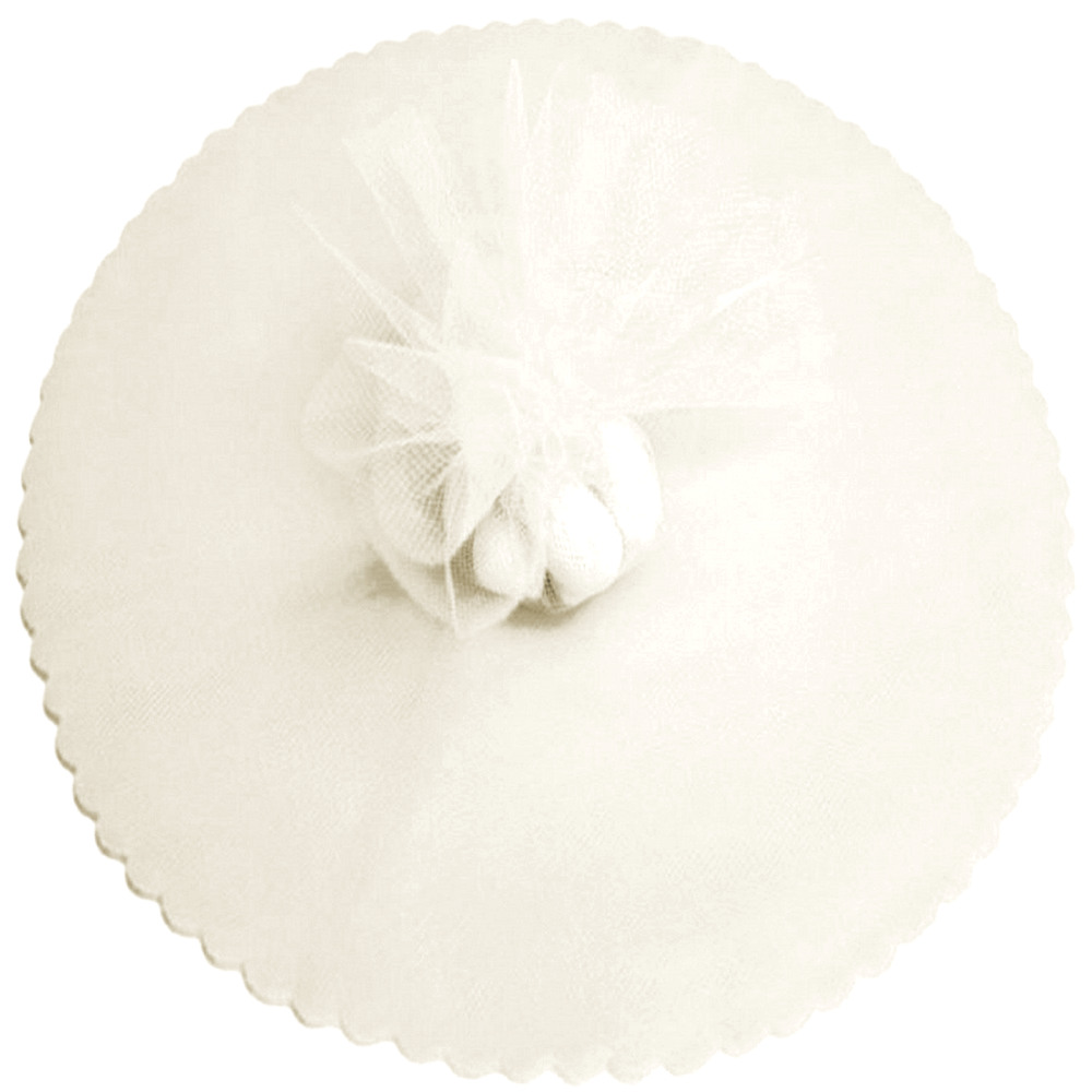 "9"" Tulle Round Circle Scallop Edge (50) Ivory"