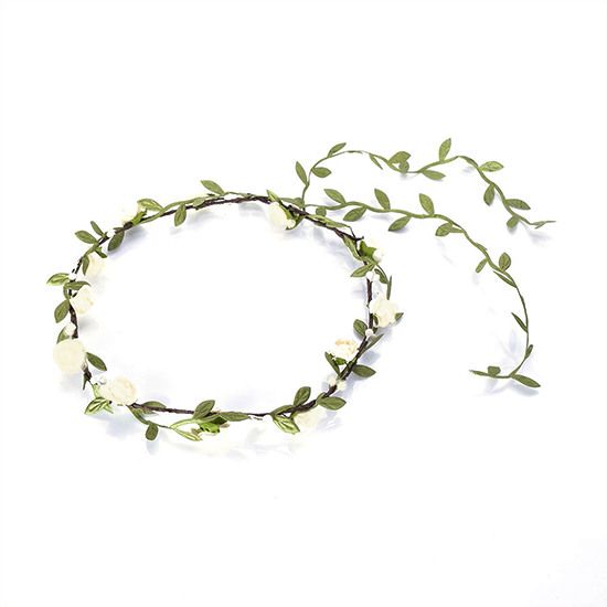 Flower Hair Crown Wreath Garland Ivory