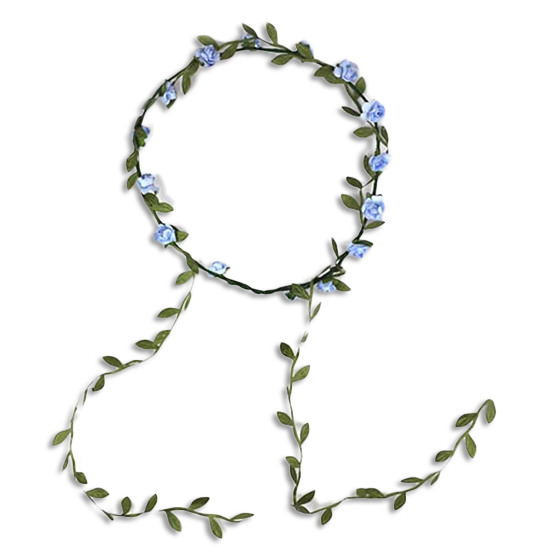 Flower Hair Crown Wreath Garland Light Blue