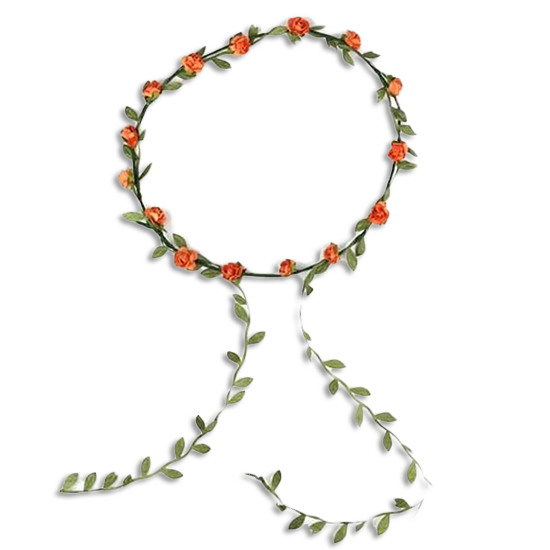 Flower Hair Crown Wreath Garland Orange