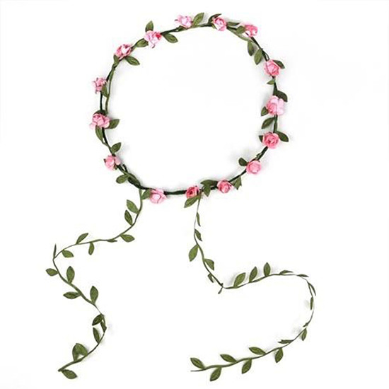 Flower Hair Crown Wreath Garland Pink
