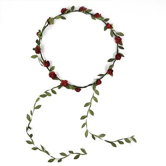 Flower Hair Crown Wreath Garland Red