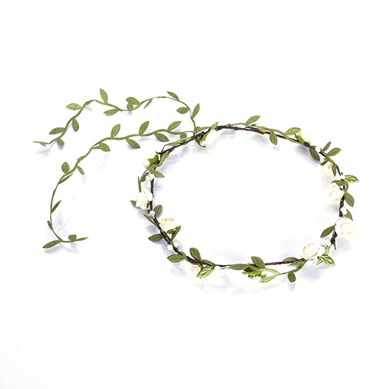 Flower Hair Crown Wreath Garland White