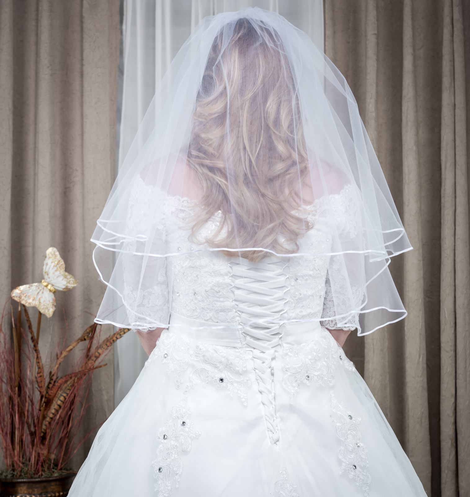Wedding Veil Elbow Length 2 Tier with Comb White