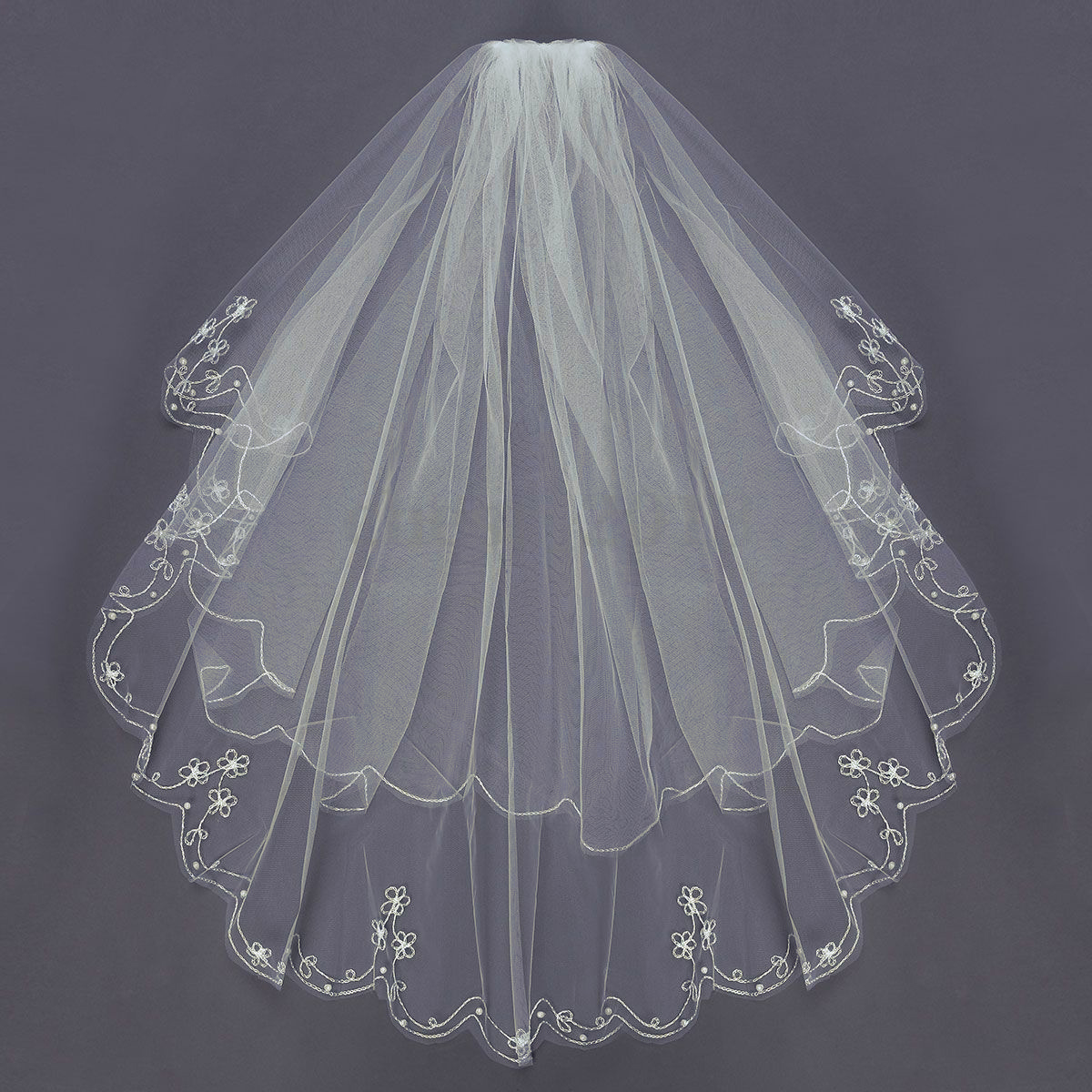 2 Tier Veil Elbow Embroidered with Pearls & Comb Ivory