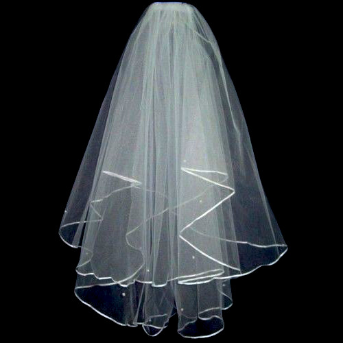 2 Tier Veil Elbow Scattered Pearls & Comb Ivory
