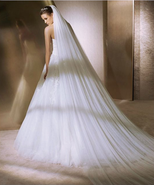 1 Tier Double Layer Veil Cathedral with Comb White