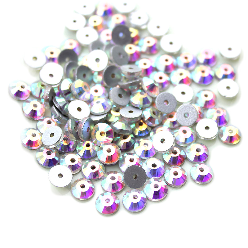 4mm Round Sew-On Center Hole Crystal AB (144)