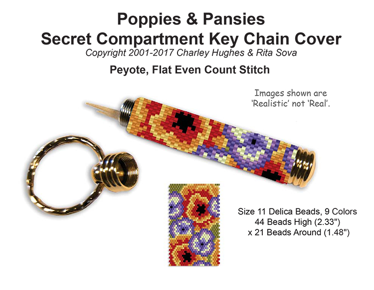 Poppies & Pansies Secret Compartment Key Chain Cover