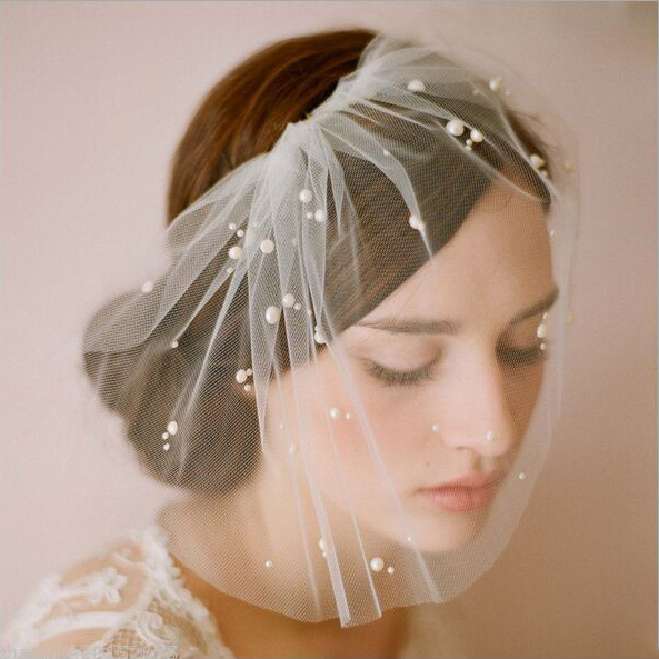 Birdcage Blusher Veil with Scattered Pearls and Comb Ivory