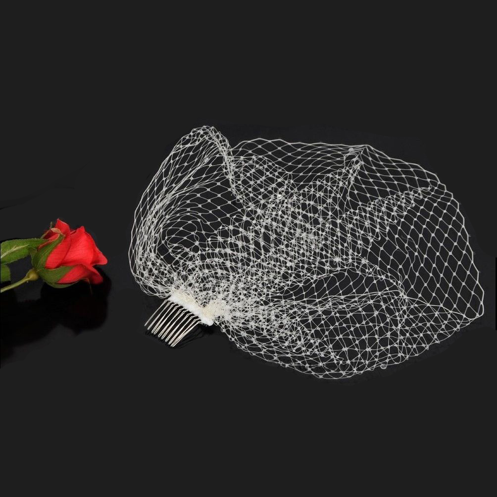 Birdcage Veil Facinator 1 Layer Plain with Comb, Ivory