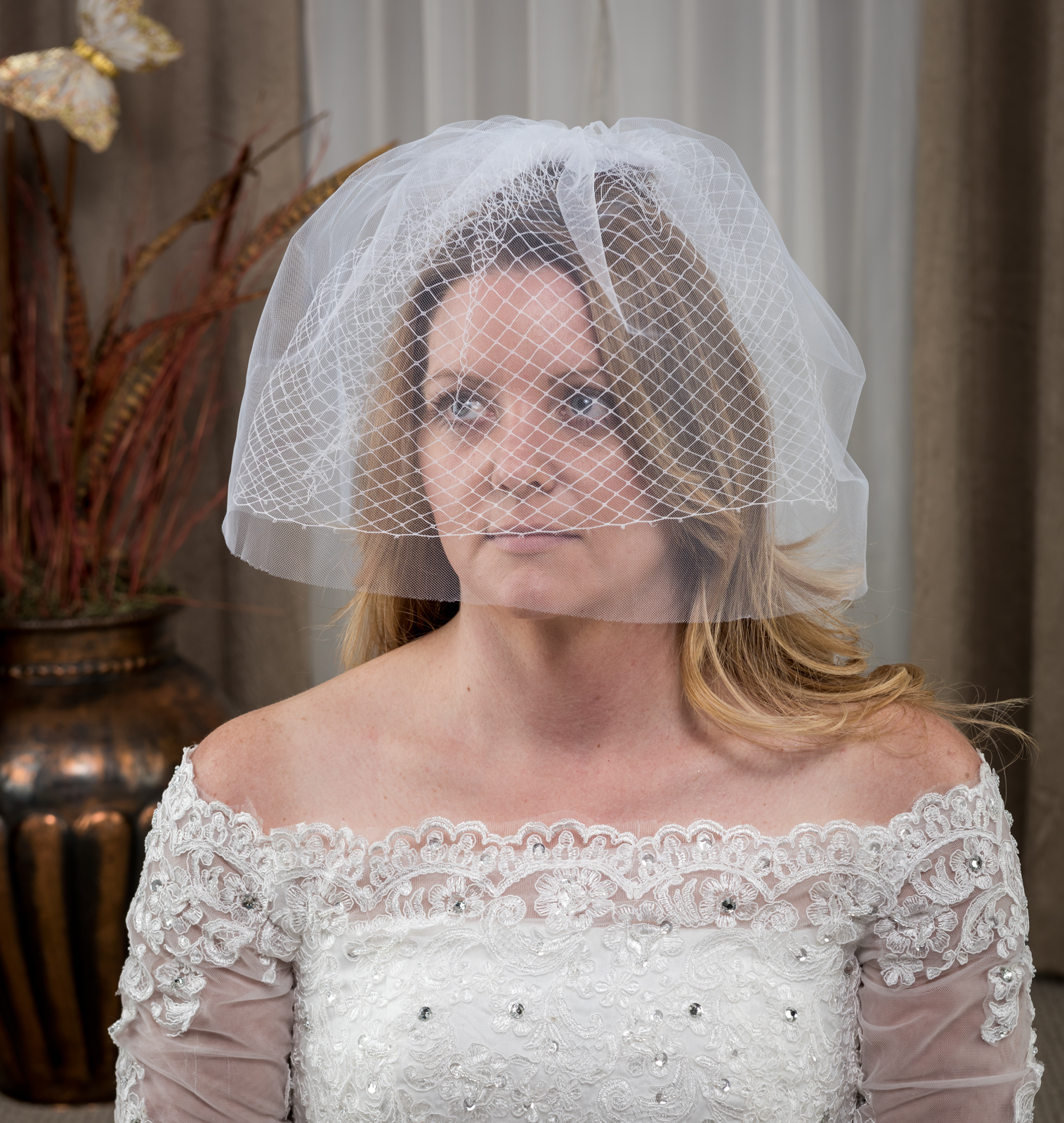 Birdcage Veil Facinator 2 Layer Plain with Comb White