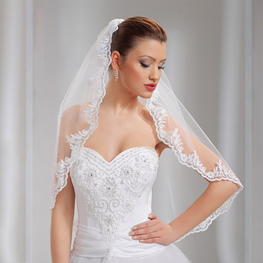 "1 Tier Wedding Veil Elbow 34"" Comb & Lace Applique Edge White"