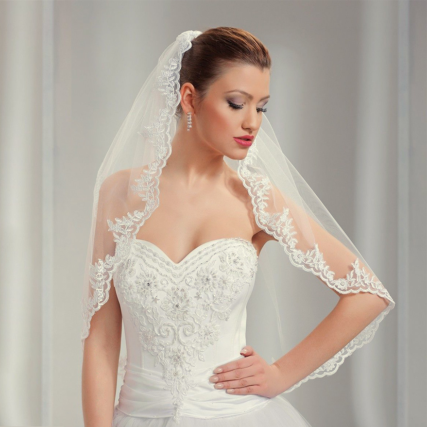 "1 Tier Wedding Veil Elbow 34"" Comb & Lace Applique Edge Ivory"
