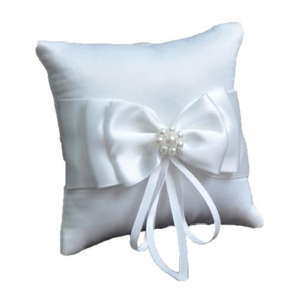 Ring Bearer Pillow with Bow and Pearls White