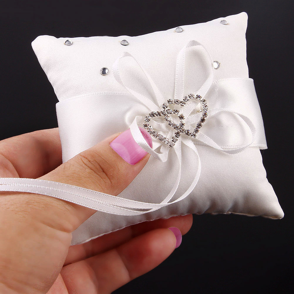 Ring Bearer Pillow with Double Heart & Rhinestones White