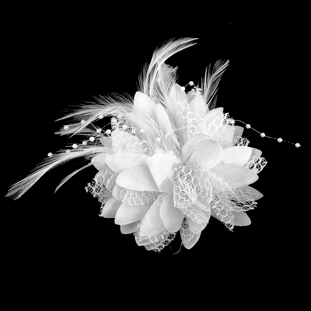 Feathers Pearls Lace, Corsage, Veil or Hair Clip White
