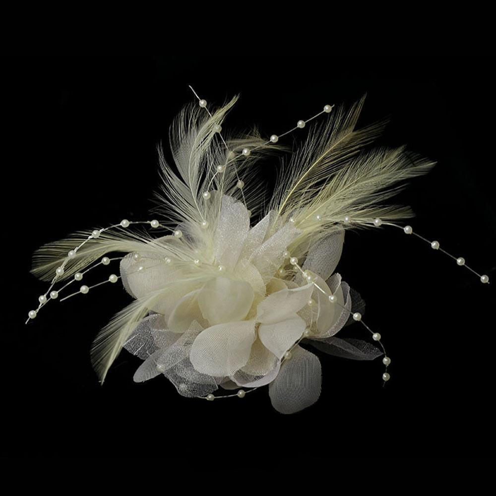 Feathers Pearls, Corsage, Veil or Hair Clip Cream