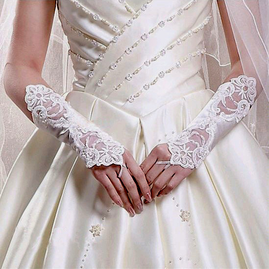 Satin & Lace Bead Embroidered Fingerless Gloves Ivory