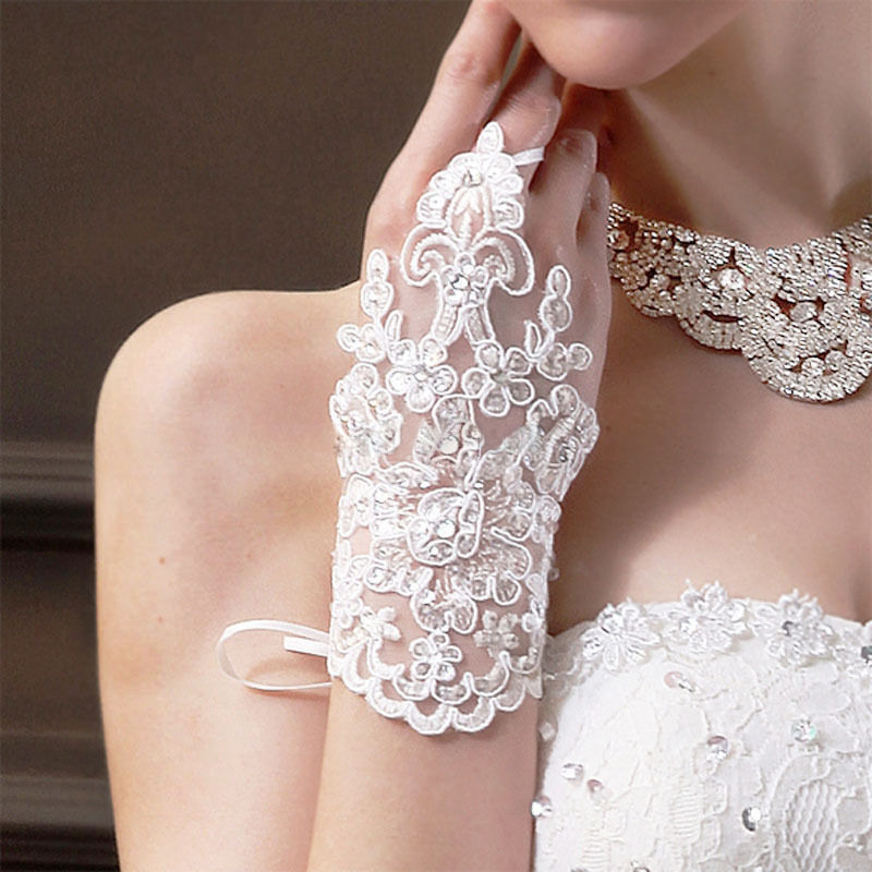 Fingerless Lace with Rhinestone Gloves White