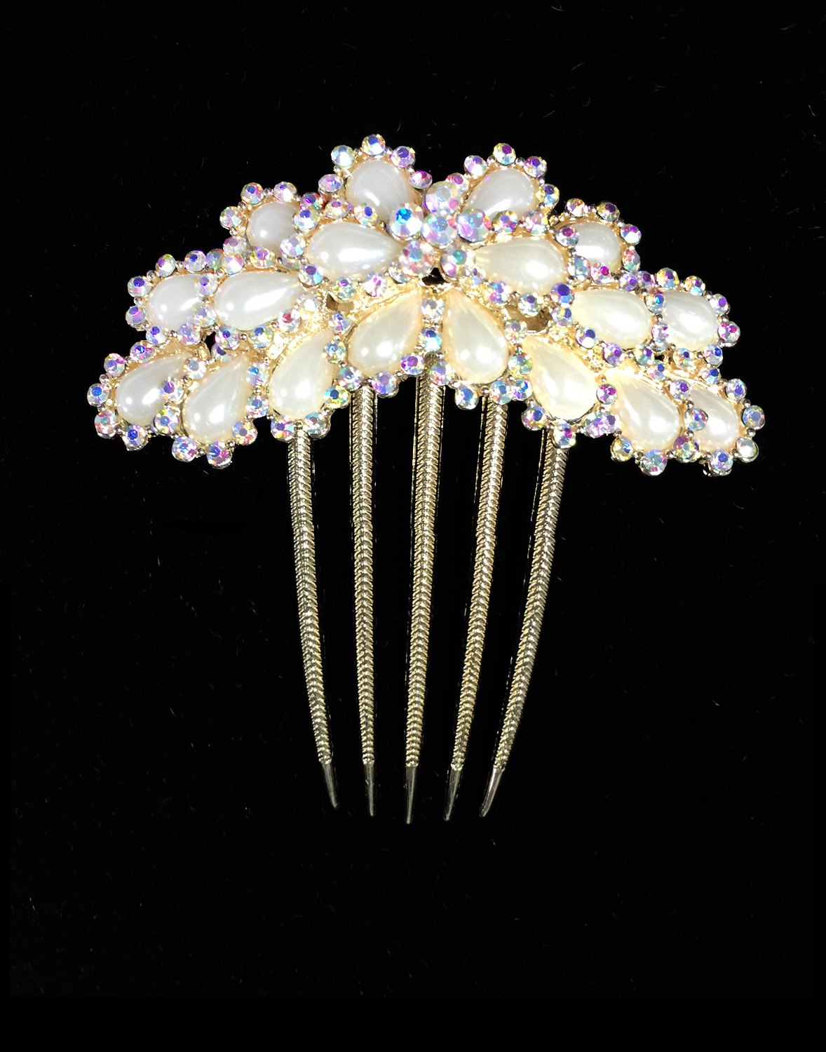 Pearls & Crystal Rhinestones Flower Hair Comb Gold