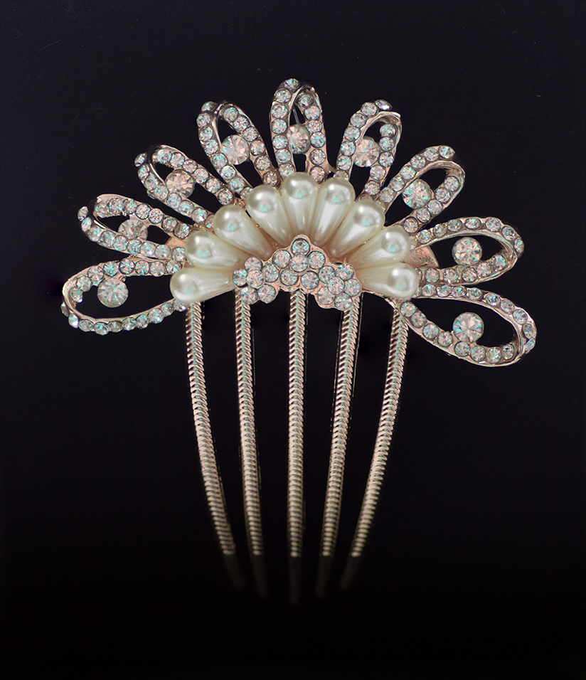 Rose Gold Hair Comb Fan of Pearls & Crystals (Style 1)