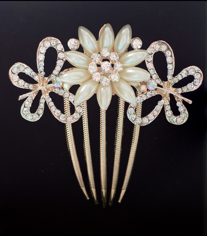 Rose Gold Hair Comb Pearl Flower 2 Crystal Butterflies (Style 4)