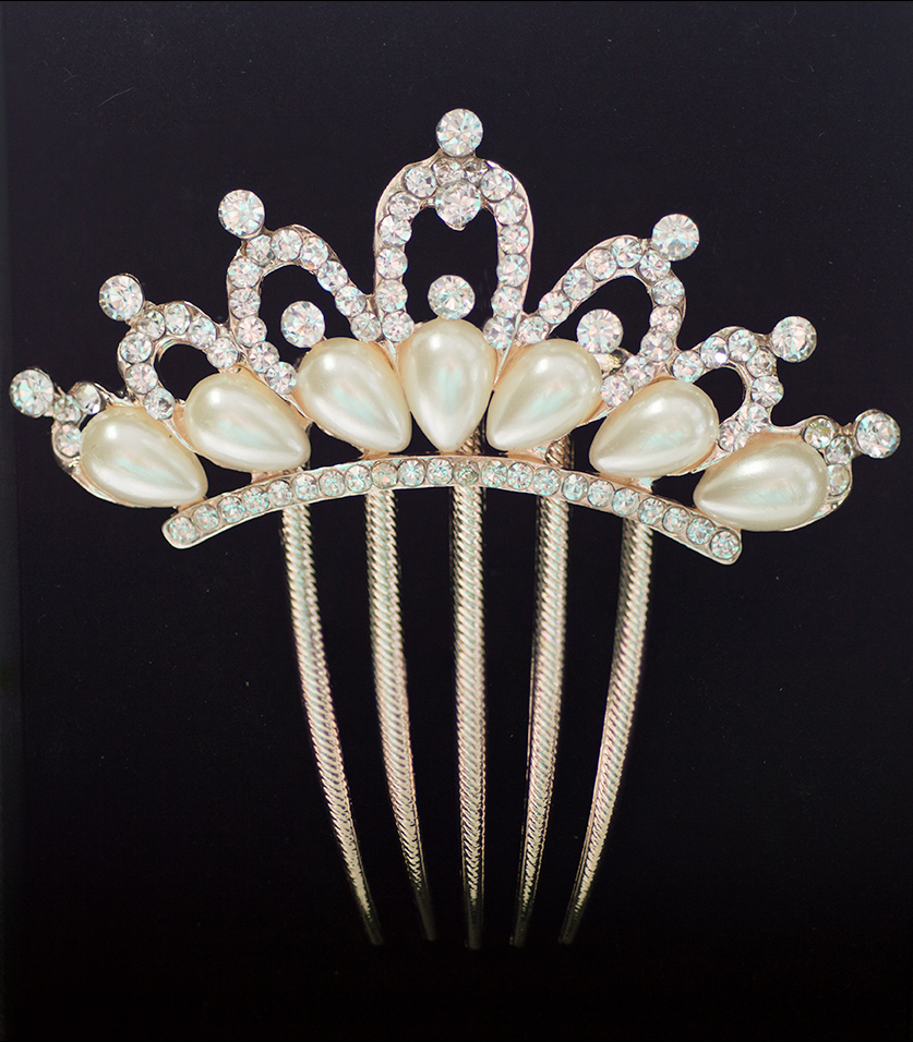 Rose Gold Hair Comb Crown of Crystals & Pearls (Style 5)