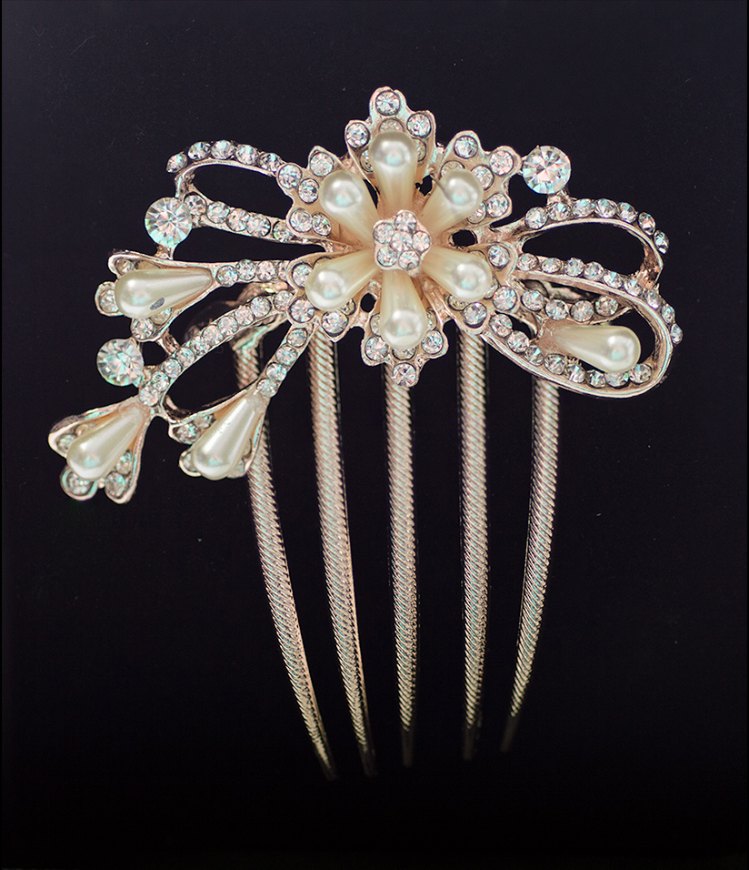 Rose Gold Hair Comb Floral spray of Crystals & Pearls (Style 6)
