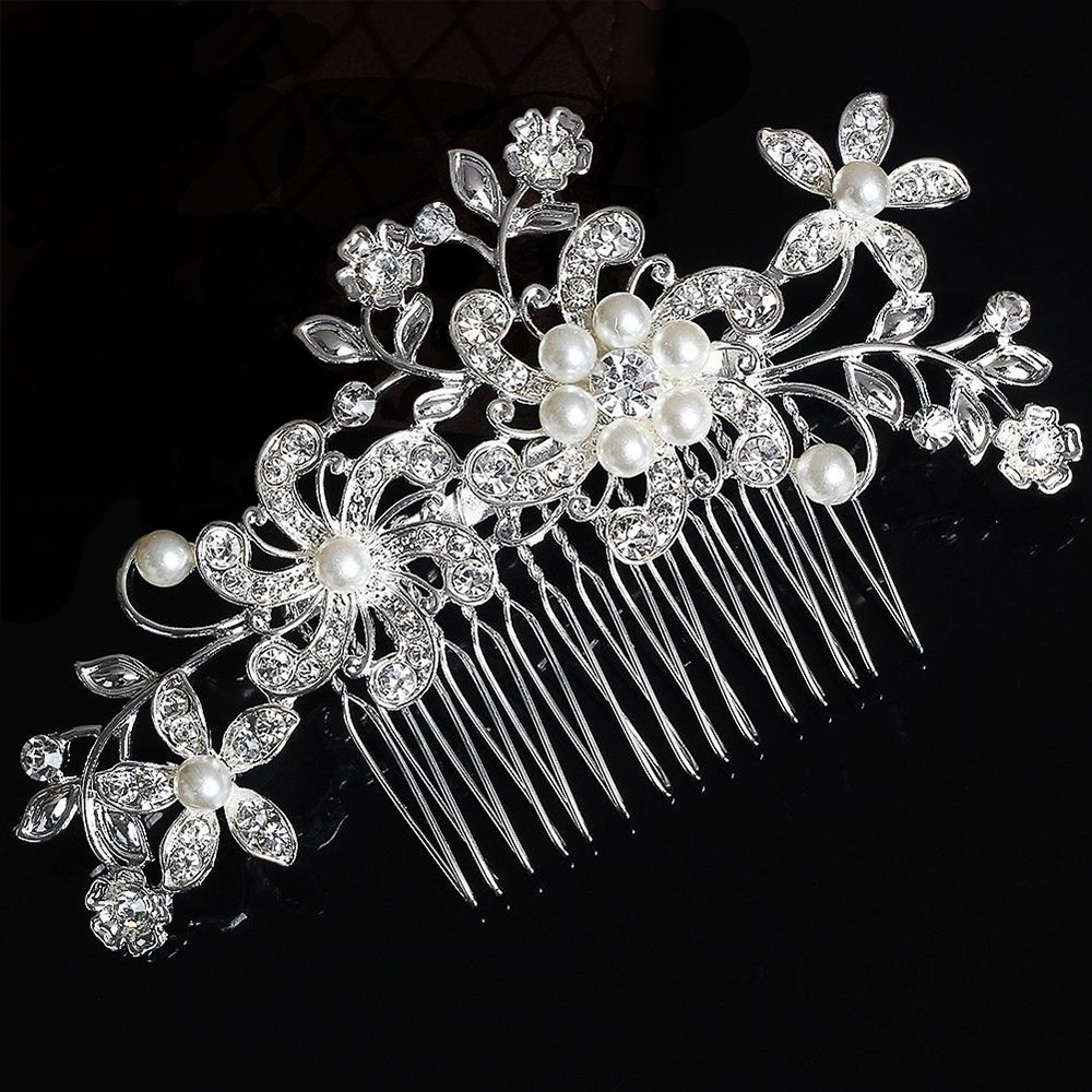 Silver Hair comb Flowers with Pearls & Crystals (Model 2)