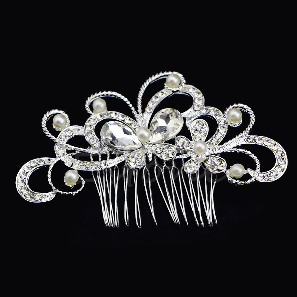 Silver Hair comb Butterfly with Pearls & Crystals (Model 3)