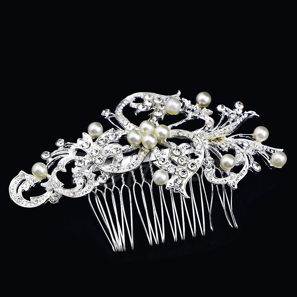 Silver Hair comb Crystals & Pearls Floral (Model 4)