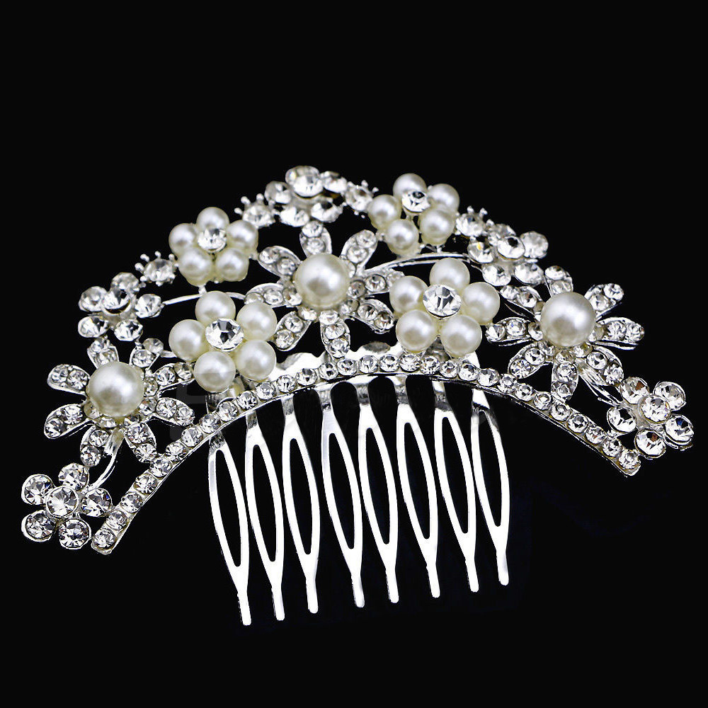 Silver Hair comb Arched Flowers Pearls & Crystals (Model 5)