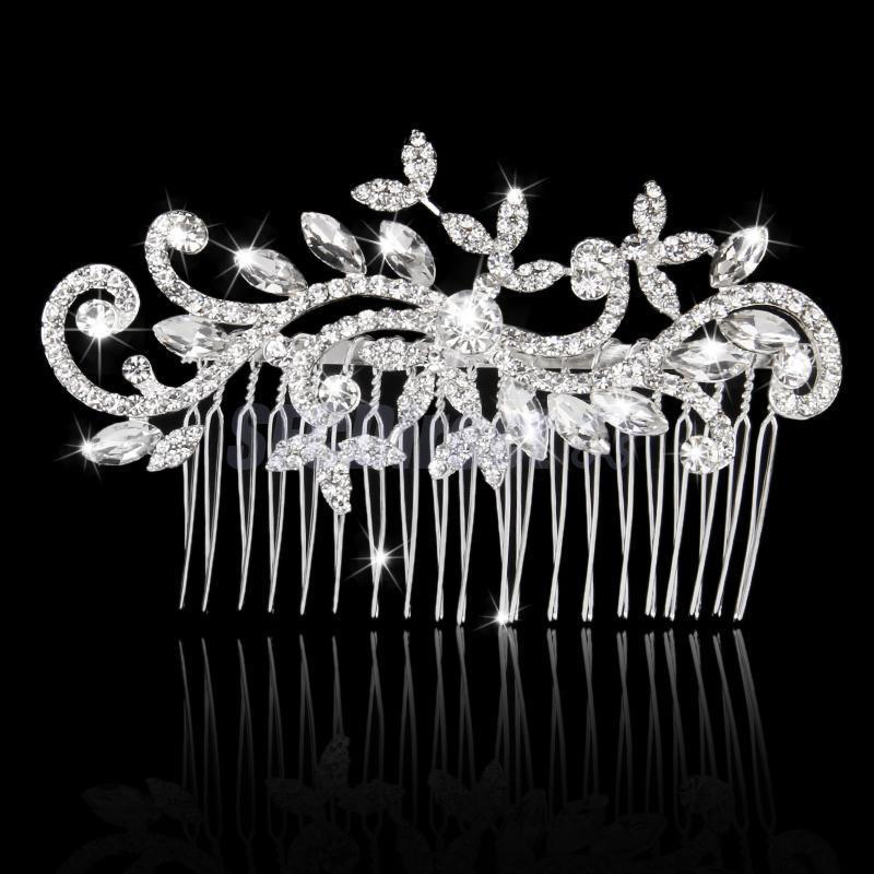 Silver Hair comb with Crystals (Model 8)