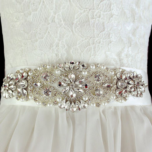Wedding Sash with Applique Beads Rhinestones Pearls #2 White