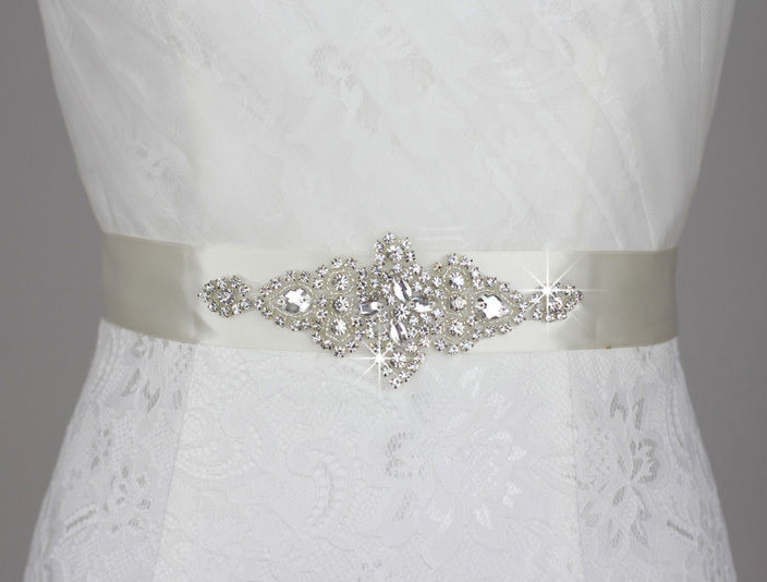 Wedding Sash with Applique Beads Rhinestones #3 Antique White