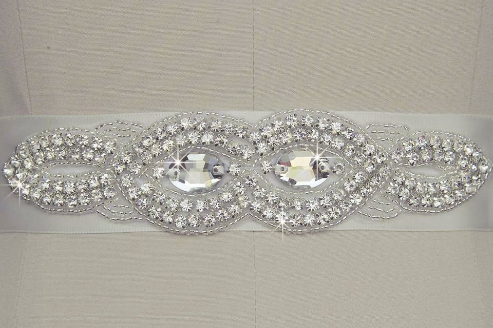 Wedding Sash with Applique Beads Rhinestones #5 Antique White