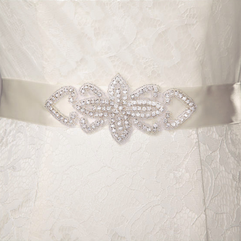 Wedding Sash with Applique Beads Rhinestones #4 Antique White