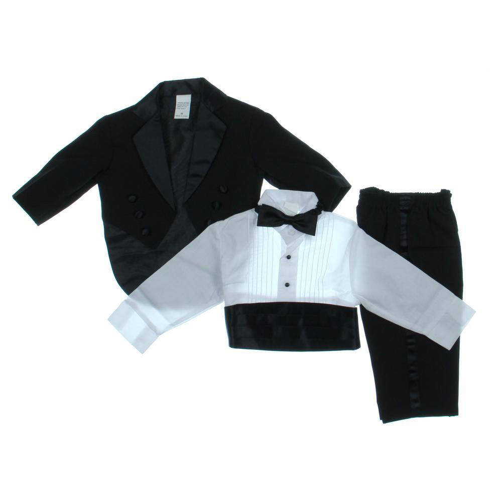 Black Pin-Tuck 5PC Tuxedo Child M (6-12 Months)