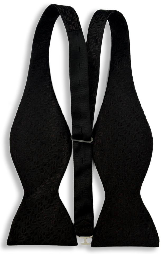 Black with raised Coffee Beans Bow Tie & Handkerchief, Self Tie